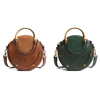 Circular Scrub PU Leather Women Bags Retro Handbag Small Round Women Shoulde 5E7