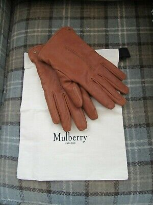 Mulberry Oak Tan Leather Mens Shearling Gloves Size Large