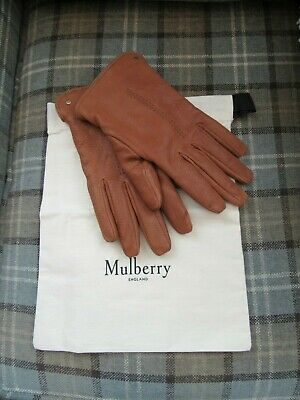 Mulberry Oak Tan Leather Shearling Gloves Size Large Unisex