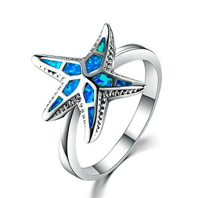 Women Ring Starfish Pattern Silver Plated Animals Rings Engagement Jewelry D