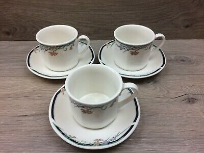 3 x Royal Doulton Juno Tea / Coffee Cups and Saucers