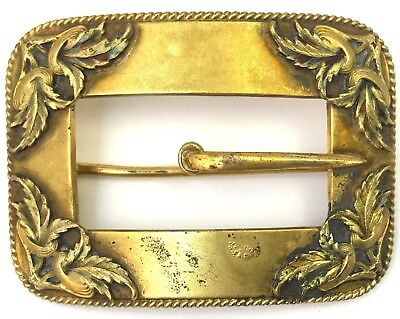 Victorian Sash Buckle Brooch Ornate Brass Bronze Tone Metal Antique Jewelry Pin