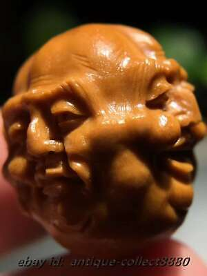 Chinese Olive Dentoliva Carved Buddhism 'Xi Nu Ai Le' Buddha Head Bead LZJ-009
