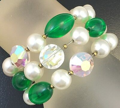 Vintage Beaded Wrap Bracelet Faux Pearl Iridescent Glass Beads Costume Jewelry