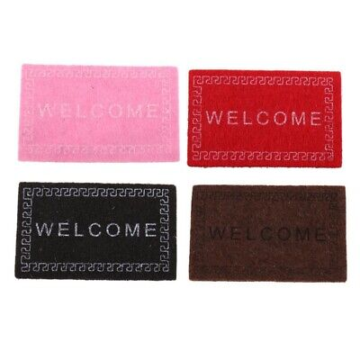Doll House Miniature carpet WELCOME Mat Dollhouse Accessories Home & Living  6G1