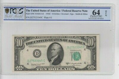 1934 $10 Federal Reserve Note Cleveland F//VF Condition bmm