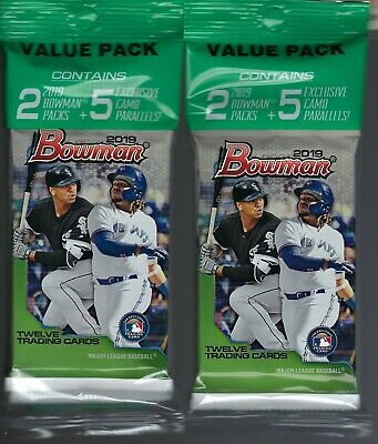 (2) 2019 Topps BOWMAN Baseball MLB Trading Cards 29c. Retail VALUE PACK LOT