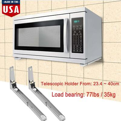 Pair Microwave Oven Bracket Foldable Stretch Wall Mount Rack Shelf Sy Stand