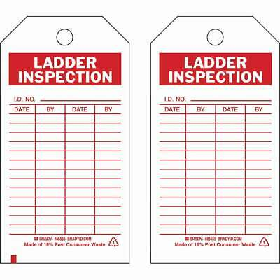 "Pack of 10 BRADY Ladder Inspection Tags 5-3/4"" x 3"" 86555 *NEW*"