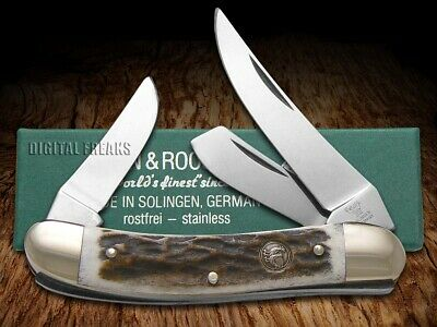 HEN & ROOSTER AND Genuine Deer Stag Sowbelly Pocket Knife Stainless 283DS Knives