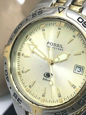 0da08e4d7 Fossil Blue Diver Men's Watch AM3639 Two Tone Stainless Steel Date 100m USED