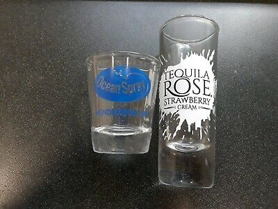 "2* Shot Glass-TEQUILA ROSE STRAWBERRY-4""  + OCEAN SPRAY HENDERSON, NEV. -2 1/2'"
