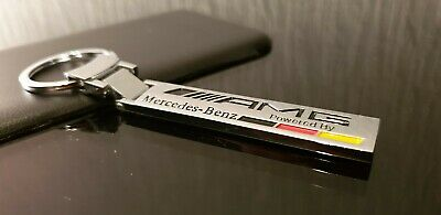 (STUNNING) Genuine Mercedes Benz Stainless Steel AMG Powered By Keyring B6695384