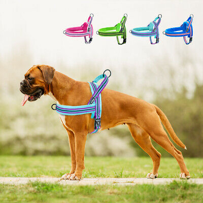 No Pull Front Leading Dog Harness Adjustable Reflective Plush Padded Quick Fit