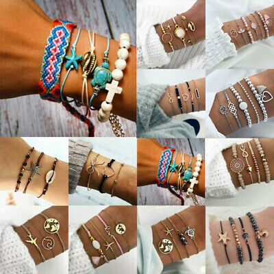 Boho Handmade Rope Weave Bracelet Set Women Beach Tassel Heart Bow Shell Bangel