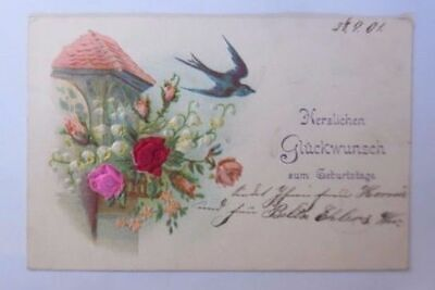 """"""" Birthday, Flowers, Roses, Lily of the Valley, Bird """" 1901, Embossed Postcard"""