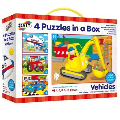 GALT Toys 4 Puzzles In A Box Vehicles Child Kids Learning 3+ Years