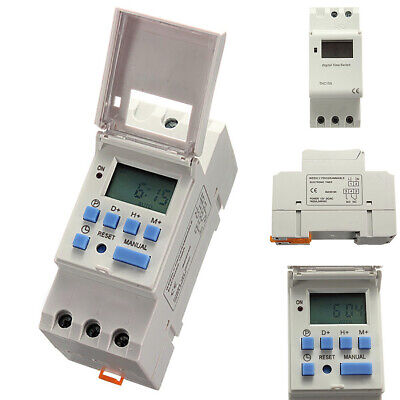 THC15A Digital LCD Weekly Programmable Timer AC 12V 16A Time Relay Switch White