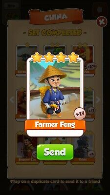 Coin Master Cards Farmer Feng and other available.please read item description.