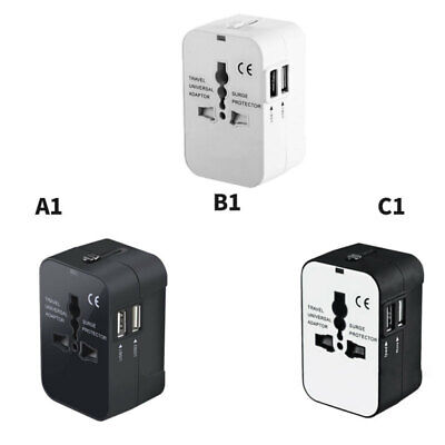 World Wide Universal Travel Adapter 2 USB Port Multi Plug Charger AU/UK/US/EU kw