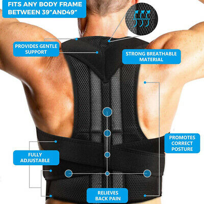 Back Posture Corrector Lumbar Shoulder Support Brace Belt Magnetic Men Women