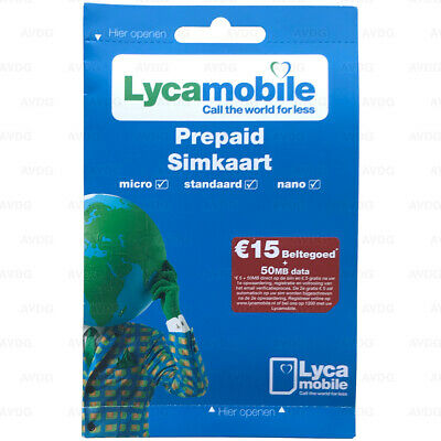 Prepaid SIM-card CALL DIRECTLY without Top-up € 5 CREDIT and 50MB Lycamobile NL