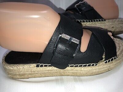 7690368ace Marc Fisher MLVenita Platform Espadrille Black Women's Sandals Sz ...