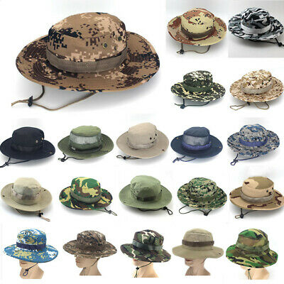 Tactical Boonie Hat Military Camouflage Bucket Wide Brim Sun Fishing Cap