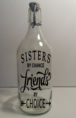 5 X Sisters  by chance wine bottle Vinyl Decal Sticker