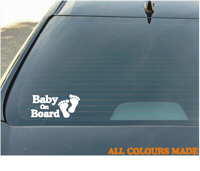 Car Window Baby On Board Boot Bumper Sticker Decal In White All Colours Feet
