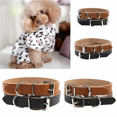 Great XS S M L Strong Real Leather Dog collar Pet Cat Puppy Buckle Adjustable