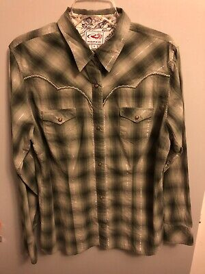7263a7cb Roper Men's Long Sleeve Western Shirt Snap Front Green Plaid Metallic Size  XL