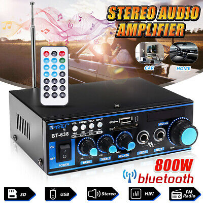 800W bluetooth Stereo Audio Amplifier Car Home HiFi Music SD USB FM 12V/220V