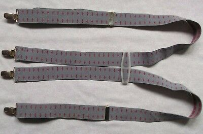 Braces Suspenders Mens Vintage CLIP ON 1970s SKINHEAD SKA GREY RED
