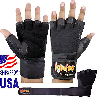 IGNITE  Ventilated Pro Wristwrap Weight Lifting Gloves - Black