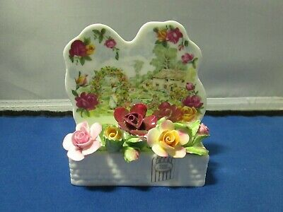 Royal Albert card holder - 25th Anniversary of Old Country Rose - 1986