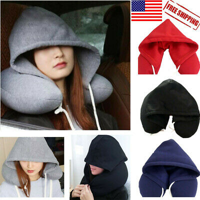 Hoodie Pillow Soft Hooded U Cushions Travel Pillows Body Neck Support US Stock Y