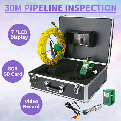 "DVR Recording 30m 7"" LCD Drain Sewer Pipe Inspection Camera Video Endoscope"
