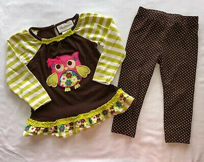 ff1f2ae7392ef Rare Editions 24 Month Girls Outfit Owl Ruffle Stripe Brown Lime Green Polka  Dot