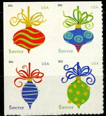 HOLIDAY BAUBLES Block of 4 MNH Stamps Scott's 4575 to 4578 on Original Backing