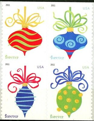 HOLIDAY BAUBLES - REMOUNTED Block of 4 Mint Stamps Scott's 4575 to 4578