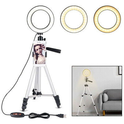 Ring Light Mini LED Camera Lamp with Tripod Stand Phone Holder for YouTube Video