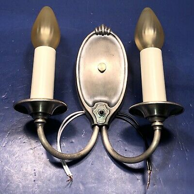 Single Wired Nickel Brass Antique Two Arm Sconce Rewired 78C