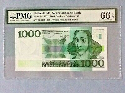 Netherlands P-94 - 1,000 Gulden; 1972; PMG Graded 66 EPQ