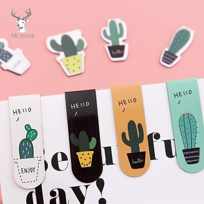 4pcs/set Fresh Cute Cactus Bookmarks Books Marker Of Page School Office Supply