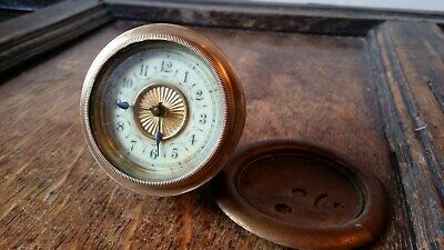 Small Antique Wind Up Clock Movement Insert - Running - For Spares Repair