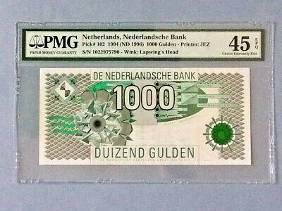 Netherlands P-102 - 1,000 Gulden; 1994; PMG Graded 45 EPQ