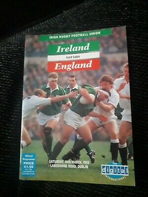 1993-Ireland V England-Five Nations-International Rugby Union Programme-Vgc