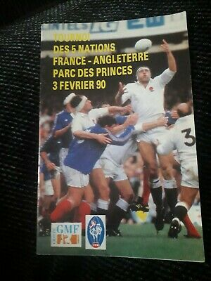 1990-France V England-Five Nations-International Rugby Union Programme