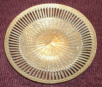 Vintage Woven Plate Bowl Solid Center Open Work Edge Design Sand Cast Brass Bowl